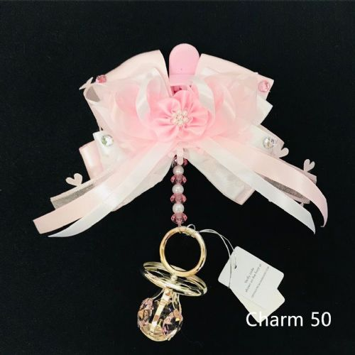 Stunning Hand Craft Pram Charm/Pink Bow and Crystal Dummy/swarovski element
